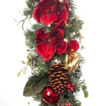 [9 Foot Artificial Christmas Garland] - Red Magnolia Collection - Red and Gold Decoration - Pre Lit with 100 Warm Clear Colored LED Mini Lights - Includes Remote Controlled Battery Pack with Timer