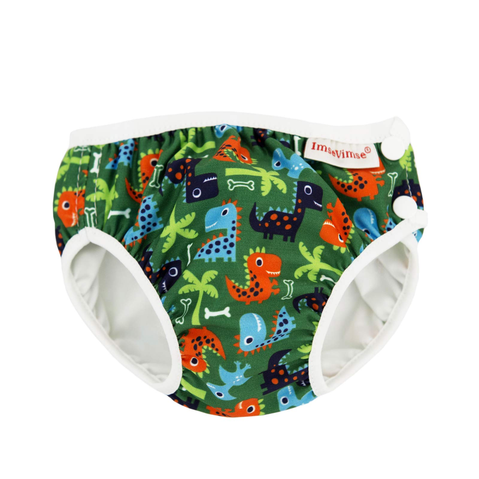 ImseVimse Eco Friendly Reusable Swim Diaper Made of Organic Cloth Sized for Infant to Toddler Boys (Green Dino, XL 18-24M, 2T (24-31 lbs))