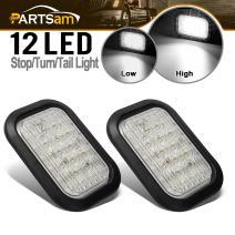 """Partsam 2 x 12 LED Truck Trailer Stop Turn Tail Reverse Backup Lights White 5""""x3"""" Flush Mount 12V Sealed, 5x3 Rectangle Rectangular Led White Back-up Tail Lights Grommet Mount"""