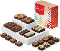 Fairytale Brownies Congratulations Medley Gourmet Chocolate Food Gift Basket for New Home Anniversary New Baby and More - Full-Size, Snack-Size and Bite-Size Brownies - 21 Pieces - Item CG321