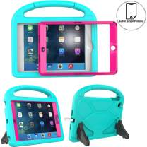 TIRIN Kids Case for iPad Mini 1 2 3 with Built-in Screen Protector, iPad Mini Case-Shockproof Lightweight Hard Cover Handle Stand Kids Case for iPad Mini 1st 2nd 3rd Generation Tablet - Turquoise Rose