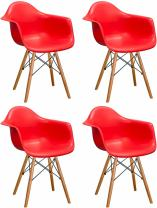 Mod Made Mid Century Modern Paris Tower Dining Arm Chair Wood Leg, Red, Set of 4