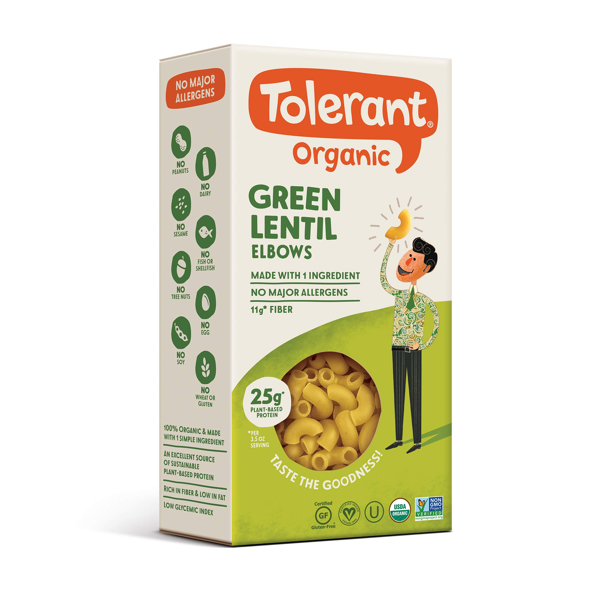 Tolerant Organic Gluten Free Green Lentil Elbow Pasta, 8 Ounce Box (Case of 6), Plant Based Protein, Vegan Pasta, Single Ingredient Protein Pasta, Whole Food, Clean Pasta, Low Glycemic Index Pasta