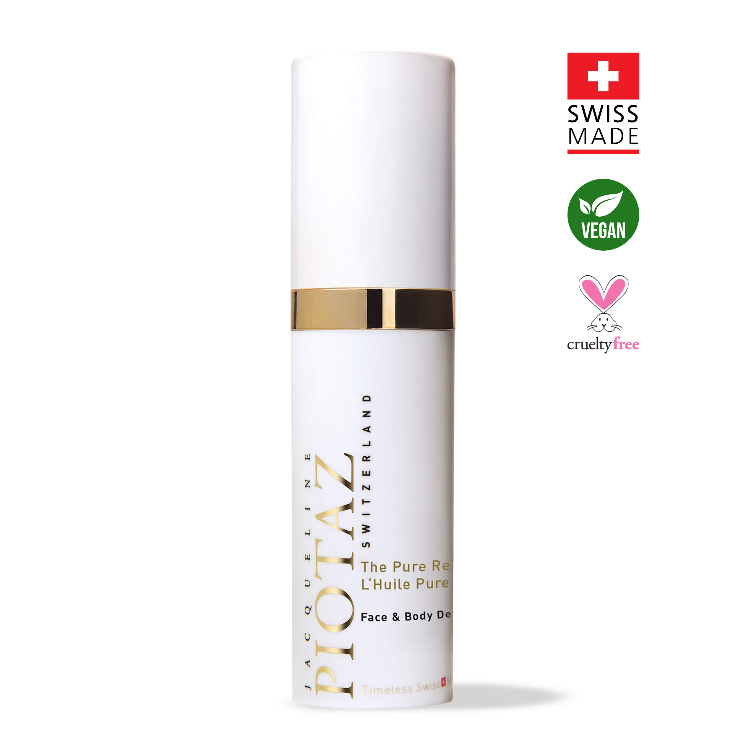 The Pure Revitalizing Oil by Jacqueline Piotaz - Hydrating Moisturizer, Soothing, Protecting Dry Skin, Advanced Healing, Anti-Aging Formula, Made with 100% Dry Oil (60 mL)