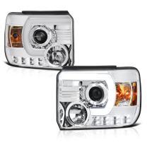 [For 2014-2018 GMC Sierra 1500 2500HD 3500HD Non-LED DRL Model] OLED Neon Tube Chrome Projector Headlight Headlamp Assembly, Driver & Passenger Side