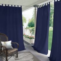 """ChadMade Blackout Outdoor Curtain Tab Top Navy 150"""" W x 96"""" L for Front Porch, Pergola, Cabana, Covered Patio, Gazebo, Dock, and Beach Home (1 Panel)."""