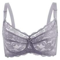 Baetty Women's Minimizer Bra Push Up Underwire Unlined Bra Signature Lace Unpadded Bra