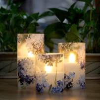 """LED Flameless Candles Blinks with Timer, Love Theme Hydrangea Serie Glass Battery Candles, Real Wax Candles Warm White Light for Bedroom Party Christmas Decor - 4"""" 5"""" 6"""" Set of 3"""
