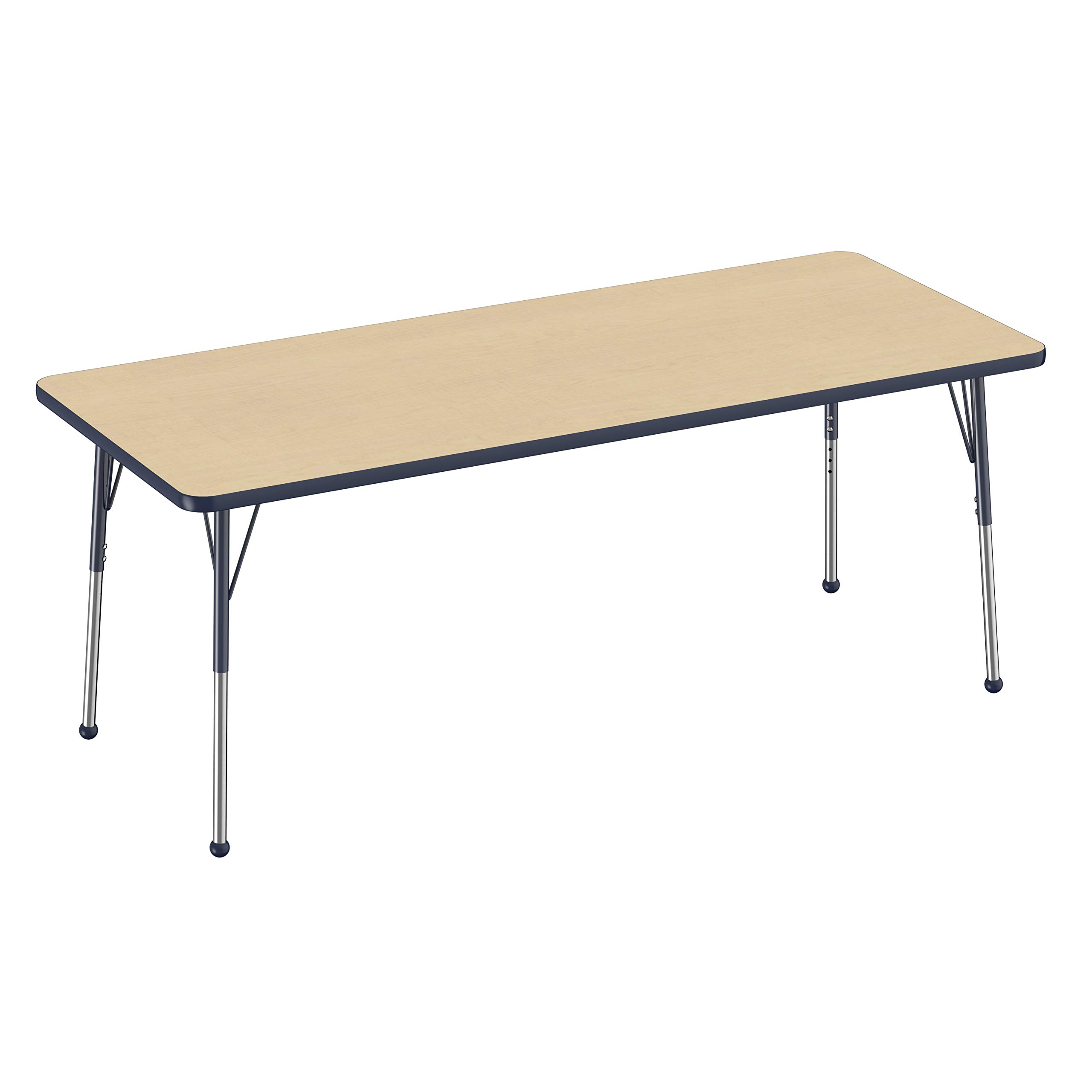 FDP Rectangle Activity School and Office Table (30 x 72 inch), Standard Legs with Ball Glides, Adjustable Height 19-30 inches - Maple Top and Navy Edge