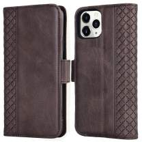 Tianniuke iPhone 11 Pro Max Case, Genuine Leather Flip Case with RFID Blocking and Kickstand Card Holder Wallet Case for iPhone 11 Pro Max 6.5-inch (2019) (Brown)