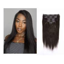 Lacerhair Real Remy Human Light Yaki Hair Clip in Hair Extensions Kinky Straight Natural Black Color For American African Double Weft Full Head Relaxd Hair 120G 7Pieces 10-22 inch (10 inch, Yaki #1B)