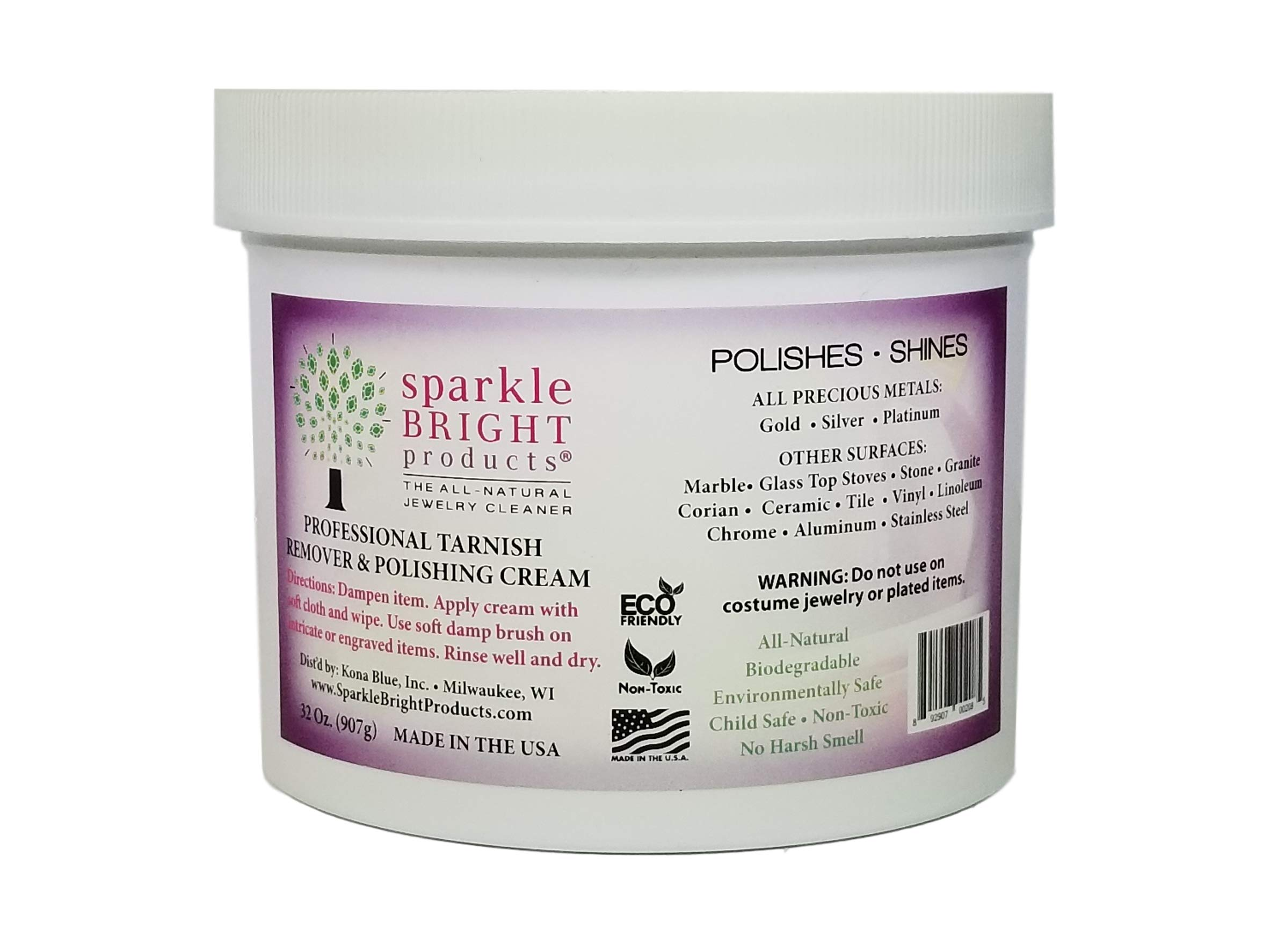 Sparkle Bright Products All-Natural Jewelry Cleaner | Tarnish Remover & Polishing Cream, 32oz. (907g) | Gold, Silver, Platinum Precious Metal Polish for Jewelry Cleaning