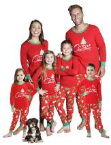 MEROKEETY Christmas Family Matching Pajamas Xmas Tree Sleepwear Cotton Kids PJs