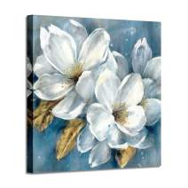 "Abstract Floral Artwork Canvas Painting: White Flower Bloom Painting Graphic Picture Wall Art for Living Room (24"" x 24"" x 1 Panel)"