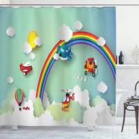 """Ambesonne Children Shower Curtain, Plane Hot Air Balloon Helicopter Flying Rainbow Sunny Sky Happy Baby Illustration, Cloth Fabric Bathroom Decor Set with Hooks, 84"""" Long Extra, Rainbow Color"""