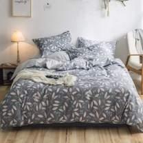 VM VOUGEMARKET Grey Bedding Duvet Cover Set Queen Size,100% Cotton Branch Leaves Fruit Printed Duvet Cover with Zipper Ties,3 Pieces Reversible Lightweight Mature Bedding Set-Full/Queen,Branch