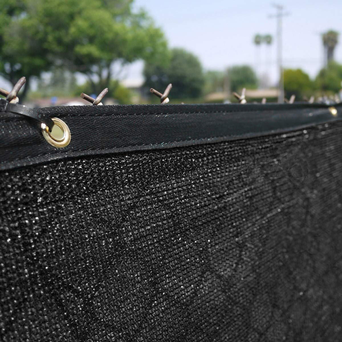 Clevr 6' x 50' Wind Privacy Screen Fence, Commercial Grade Fabric Mesh with Durable Grommets, Black (Set of 4-200' Long) | 3 Year Limited Warranty 140GSM