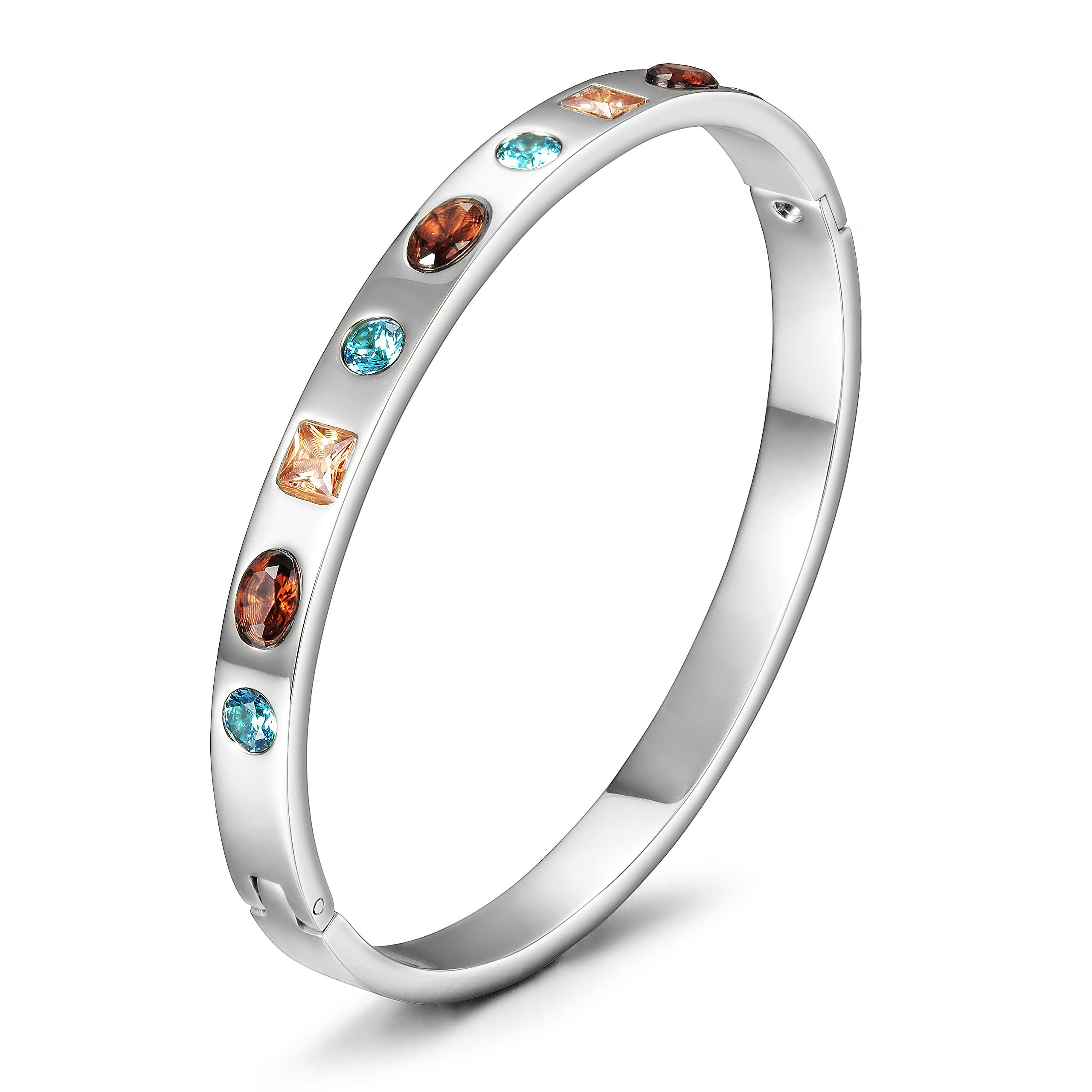 CIUNOFOR Cubic Zirconia Bracelet with 9 Colored Stones for Women Girls Stainless Steel Bangle Silver Rose Gold Plate Tone Wide Band Bracelet