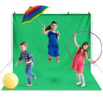 Amzdeal 10ft X 7.5ft Backdrop Screen Ironable Washable Polyester-Cotton Blended Photography Backdrop Green for Photo Video Studio with 4 Clamps