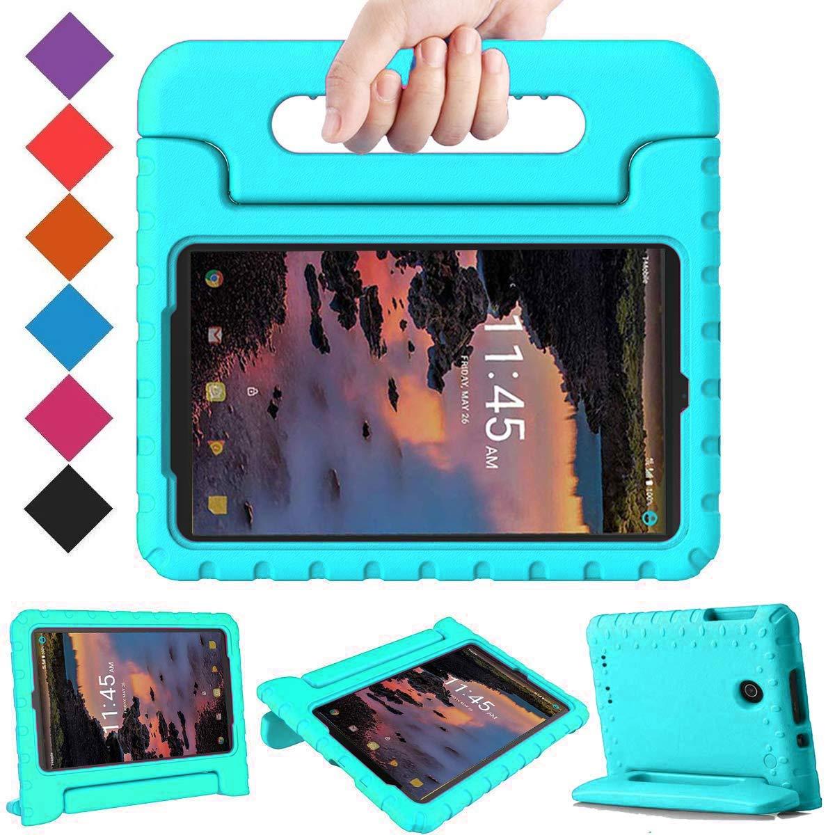 BMOUO Kids Case for Alcatel Joy Tab 8 2019/T-Mobile 3T 8 Tablet 2018/A30 Tablet 8 2017, Lightweight Kid-Proof Handle Stand Case for Alcatel Joy Tab 2019/Alcatel 3T 8 2018 / A30 8 inch 2017 - Turquoise