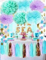 Mermaid Party Decorations Under The Sea Theme Purple Blue Mint Baby Shower Decorations Tissue Pom Poms First Birthday Decorations Purple Bridal Shower Decorations Mermaid Party Supplies/Ariel Party