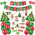 48pcs Christmas Party Decorations Set-Christmas Foil Balloons, Flag Bunting Banner, Xmas Photo Booth Props and Hanging Swirls