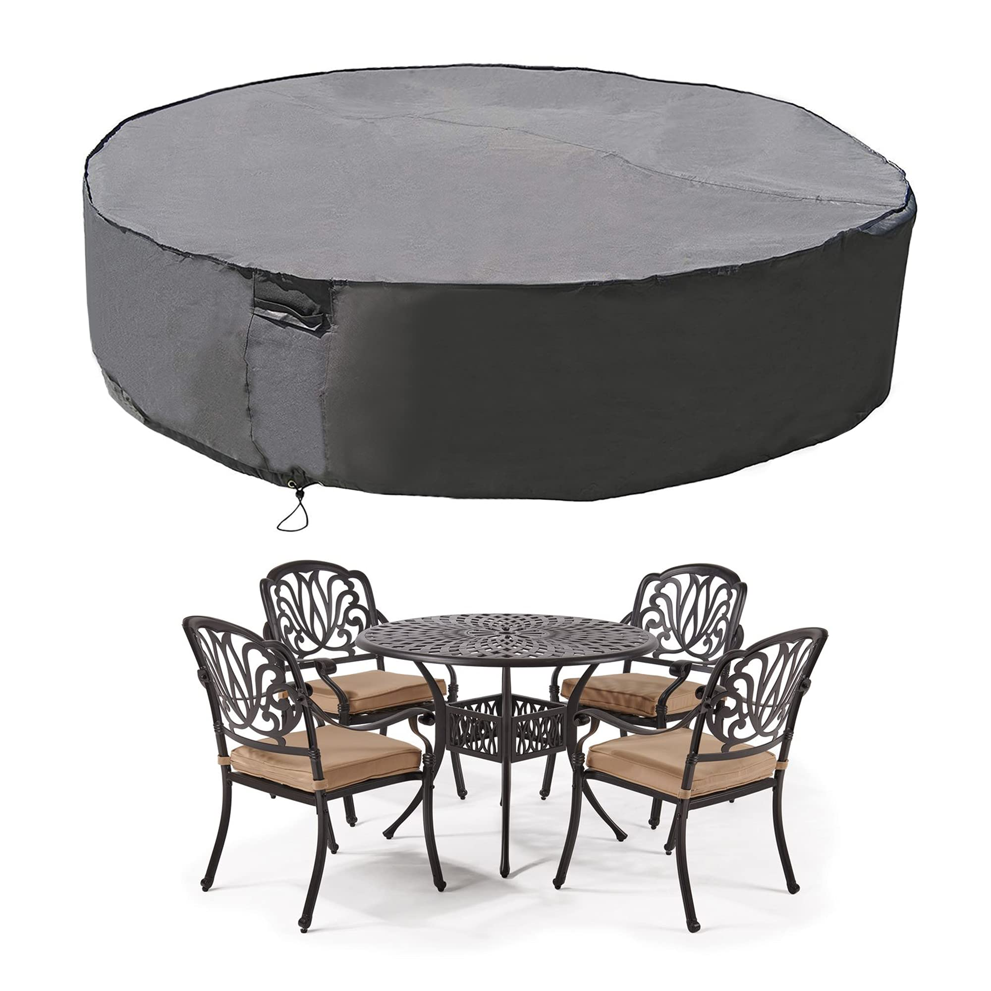 MH M&H Patio Furniture Covers, Outdoor Furniture Covers Waterproof with Handles and Durable Hem Cord, Fit Large Round Table and Chairs, 600D UV Resistant Fabric,108''D x 23''H, Taupe