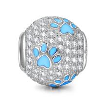NINAQUEEN Puppy Paw Women Valentines Charms Gifts Animal Style Charms 925 Sterling Silver Women Cute Dog Beads Footprints Charms Suitable for Women Bracelet Necklace Pendant, Gifts for Animal Lovers