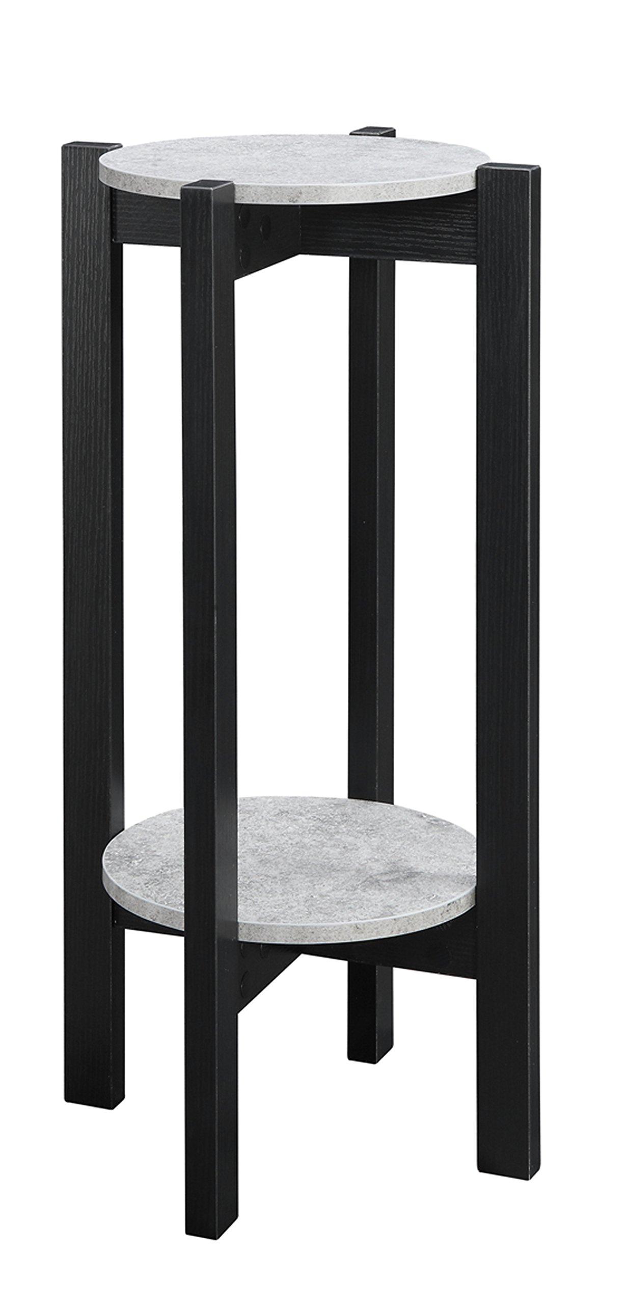 Convenience Concepts Newport Deluxe Plant Stand, Faux Cement / Black