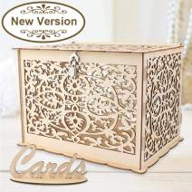 Aytai DIY Rustic Wedding Card Box with Lock and Card Sign Wooden Gift Card Box Money Box for Reception Wedding Anniversary Baby Shower Birthday Graduation Party Decorations