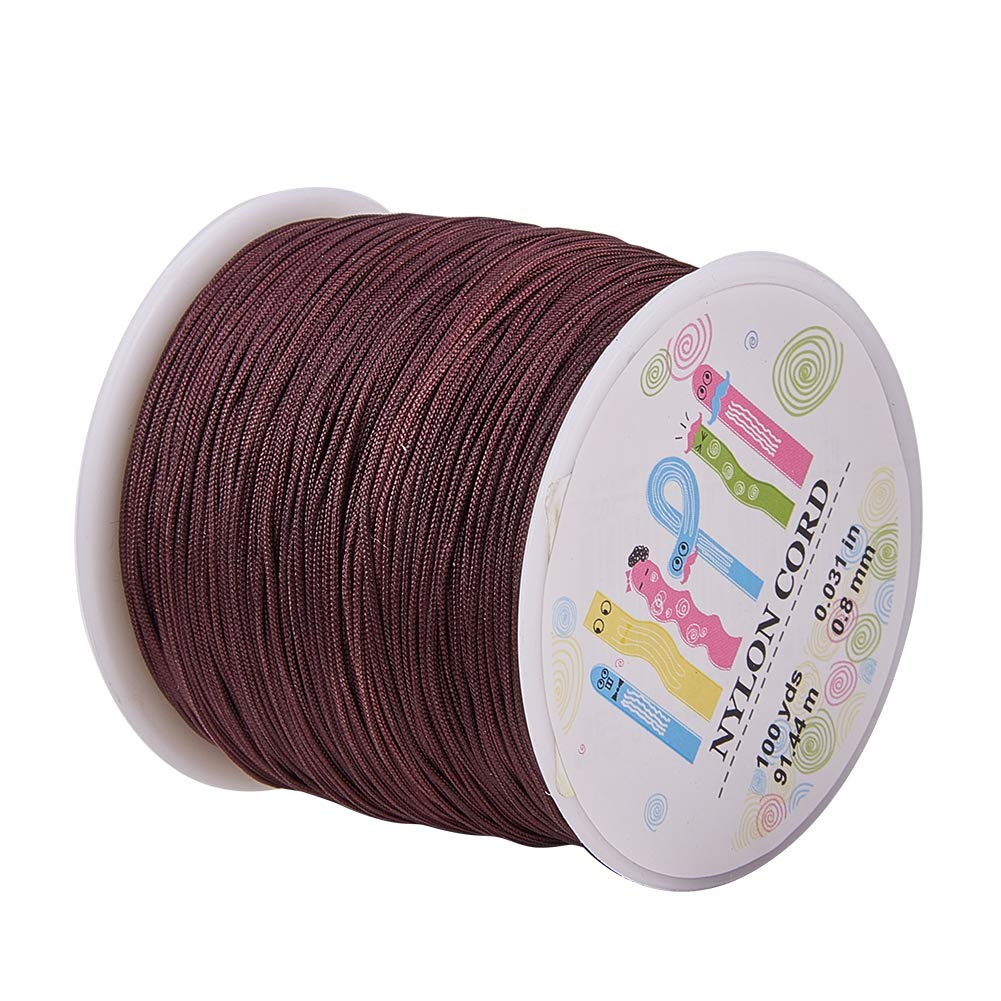 Pandahall 1 Roll(About 90m, 100 Yards) 0.8mm Nylon Beading String Knotting Cord, Chinese Knotting Cord Nylon Kumihimo Macrame Thread Beading Cord (CoconutBrown)