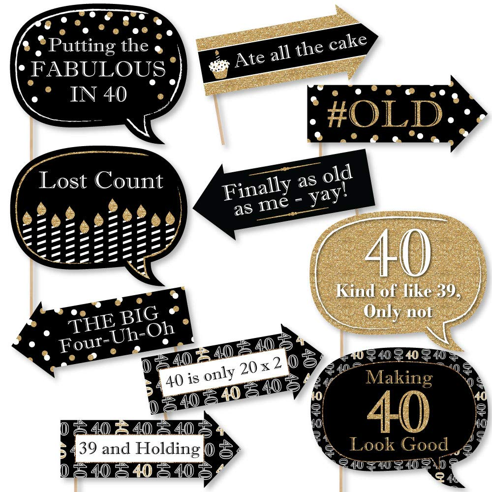 Big Dot of Happiness Funny Adult 40th Birthday - Gold - Birthday Party Photo Booth Props Kit - 10 Piece