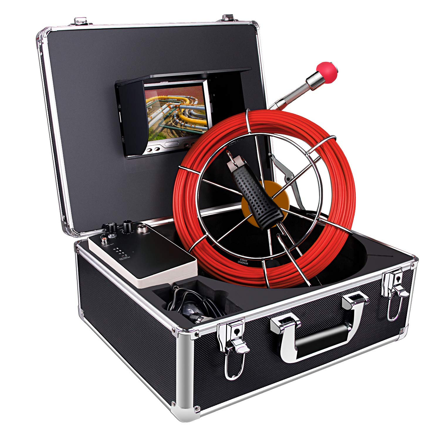 Sewer Pipe Inspction Camera,Anysun 20m-65ft Cable with Distance Counter - Plumbing Snake Industrial Endoscope 4500mAh Battery 7 Inch Color LCD Monitor Waterproof IP68 Borescope Snake Cameras