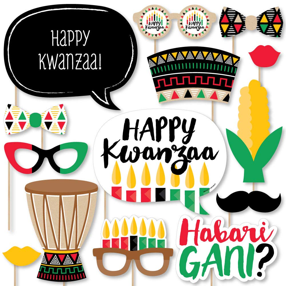 Big Dot of Happiness Happy Kwanzaa - African Heritage Holiday Party Photo Booth Props Kit - 20 Count