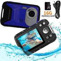 "Pellor Waterproof Digital Camera 2.8"" FHD 1080P 8.0MP CMOS Sensor 21MP Video Recorder Selfie DV Recording Underwater Camera Camerater for Snorkeling with 16G SD Card (Blue)"