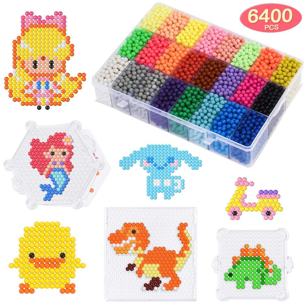 SEEKONE Water Fuse Beads Kit, 24 Colors 30 Patterns 6400Pcs Refill Non-Toxic Water Sticky Beads DIY Art Crafts Toys Set for Kids with Bead Trays, Pattern Cards, Tweezers, Key Rings and More