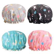 Unicorn Shower Caps, Double Layers Bath Hat for Women to Cover Long and Thick Hair, Reusable Waterproof Bonnet 4 Pack