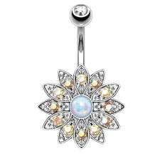 BodyJ4You Belly Button Ring Flower Paved CZ Crystal 14G Navel Banana Steel Curved Bar Body Piercing
