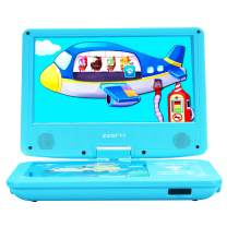 """ZESTYI 11"""" Portable DVD Player for Kids with 9"""" Swivel Screen, Car Headrest Mount Holder, Rechargeable Battery, Wall Charger, Car Charger, SD Card Slot, USB Port & Swivel Screen (Blue)"""