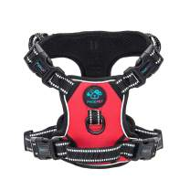 PHOEPET Updated No Pull Dog Harness Reflective Puppy Vest +Training Handle +2 Metal Hooks +4 Snap Buckles +4 Slide Buckles [Easy to Put on & Take Off]