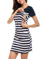 Zeagoo Women's Maternity Nursing Dress Breastfeeding Striped Casual Clothing