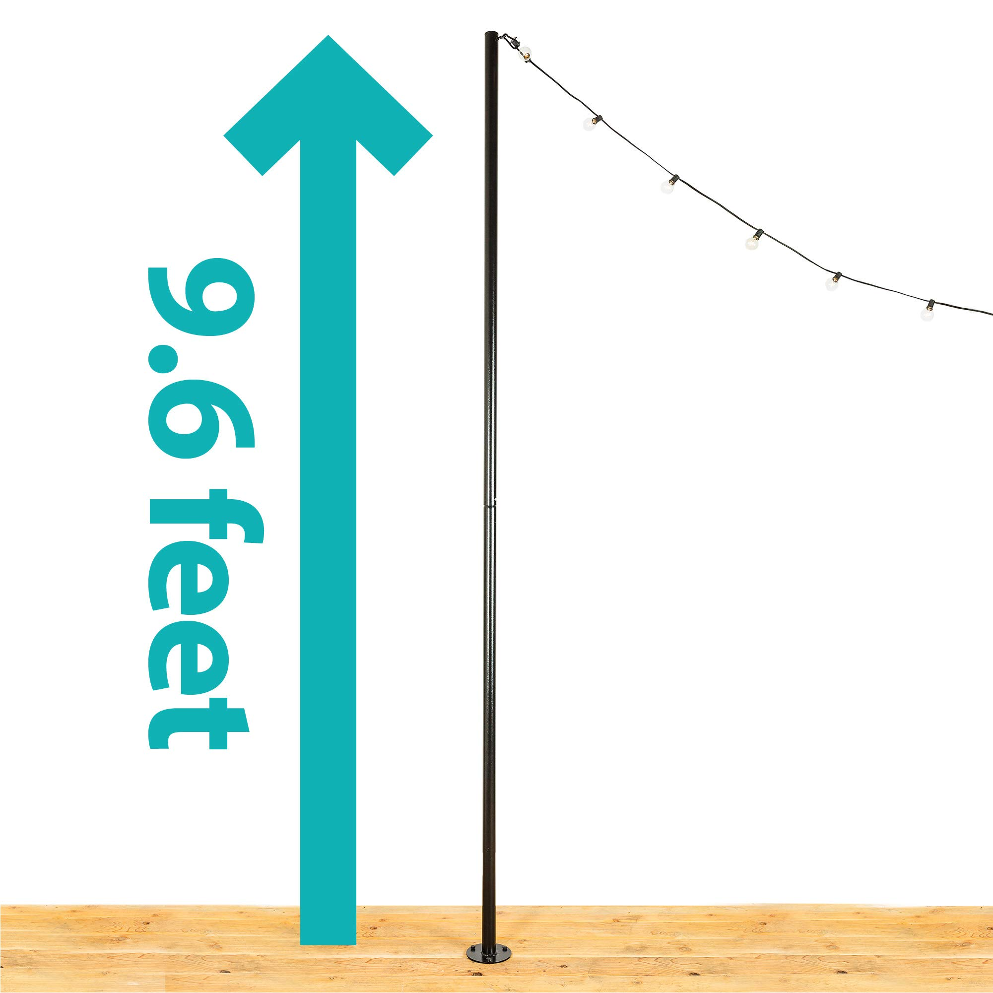 IYN Stands Outdoor String Light Pole Stand, 9.6 Ft. Durable Powder Coated Steel, Weather Resistant, Mount to Deck, Patio, Backyard, Set In Concrete, Wedding, Event, Restaurant, Rooftop, USA Made-Black