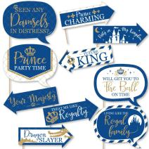 Funny Royal Prince Charming - Baby Shower or Birthday Party Photo Booth Props Kit - 10 Piece