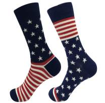 TOSKIP Men's American Flag Fun Dress Novelty Socks Cotton Crew Socks 2 Pack 7-12 Human Skeleton Lighthouse Socks