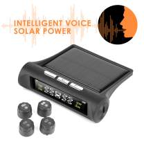 Solar Power Tire Pressure Monitoring System Wireless TPMS Monitor with 4 External Cap Sensors Adjustable Display Angle Real-time Display Safe Driving