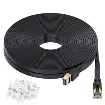 Cat 8 Ethernet Cable 50ft, High-Speed 40Gbps 2000Mhz Flat LAN Cable, RJ45 Connector with Gold Plated SFTP Patch Cord, Heavy Duty Gigabit Internet Network Cord for Modem Router Xbox PS4 Gaming