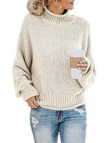 Women's Casual Chic High Neck Drop Shoulder Long Sleeve Loose Knitted Pullover Sweater Jumper Tops Blouse