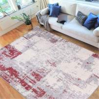 """HR- Abstract Rugs, Luxury Livingroom Carpet Modern Contemporary 8x10 red Area Rug Ultra-Soft, Shed Free Stain Resistant Easy Clean Red/Silver/Gray/White (7'74"""" x 10')"""