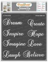 CrafTreat Word Stencils for Painting on Wood, Canvas, Paper, Fabric, Floor, Wall and Tile - Imagine Sentiments - 6x6 Inches - Reusable DIY Art and Craft Stencils for Home Decor - Journaling Stencils