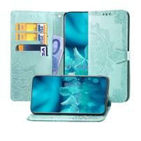 MEUPZZK Pixel 3 Wallet Case, Mandala Flower Embossed Premium PU Leather Kickstand Flip Phone Cover Card Holders & Hand Strap Wallet Case for Google Pixel 3 5.5 Inch Mint Green